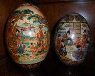 Large Cloisonne Asian Eggs