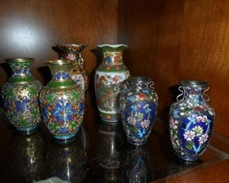 Small Asian Cloisonne style urns