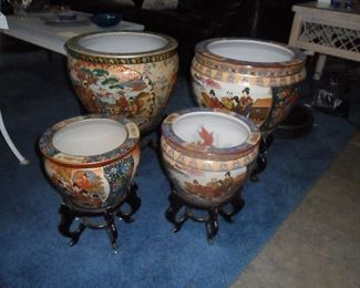 Asian style flower pots