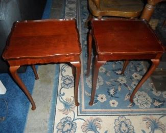 Pair of small wood side tables