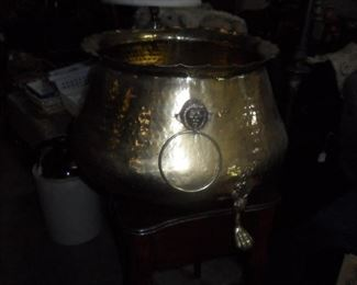 Footed Large Brass container with Lion Head Handles