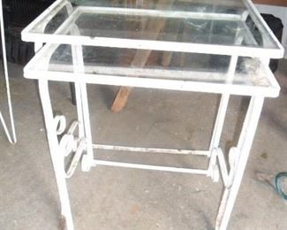 2 wrought iron nesting tables