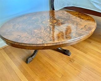"$425 - Inlay and burlwood coffee table - 19""H x 52""W x 39""D"