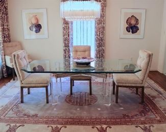 Six Upholstered Brass John Stuart Dining Chairs, Lucite and Glass Dining Table