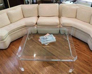 Lucite Base Glass Top Coffee Table