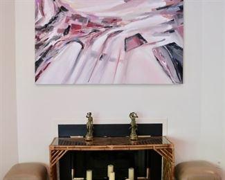 Large Original Oil by Ben Georgia, White Metal Sculptures, Pair Puff Ottomons