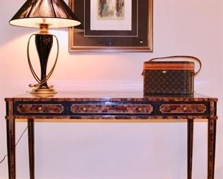 """Maitland Smith Faux Tortoise Desk (Losses), Chapman Lamp, Louis Vuitton Make up Case, Chagall """"Lovers in Gray"""" signed and numbered"""