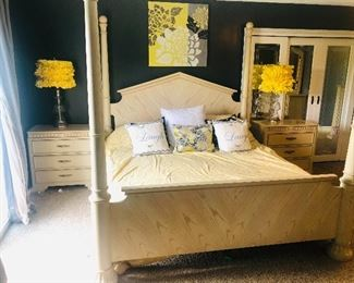 PRESALE available for this solid wood Stanley 7 pc King bedroom set. Includes 4 post bed, dresser and mirror, 2 night stands, large dresser, and armoire. Mattress and pillows not for sale. $1,500 for everything.