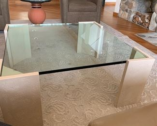"""15. Glass Top Coffee Table on Stone Base (38"""" x 39"""" x 16"""")"""