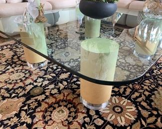 """21. Glass Top Coffee Table on Cylinder Base (50"""" x 58"""")"""