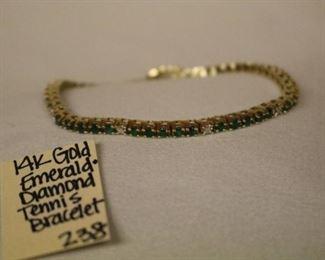 14k Gold, Emerald and Diamond tennis bracelet
