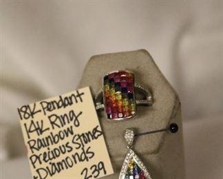 18k pendant, 14k ring precious stones