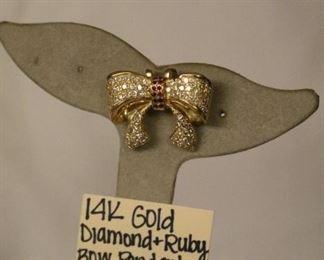 14k Gold Diamond & Ruby bow pendant slide