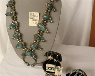 Silver & turquoise squash blossom neckalce