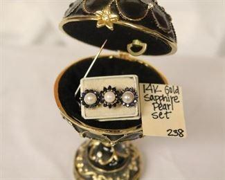 14k Gold Sapphire Pearl set
