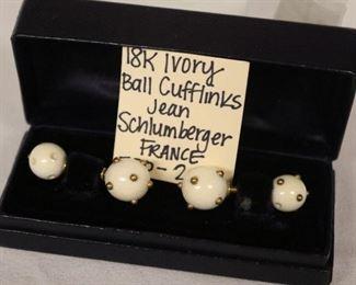 18k ivory ball cufflinks, Jean Schumberger, France