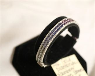 14k gold, rainbow sapphire double rowed bracelet