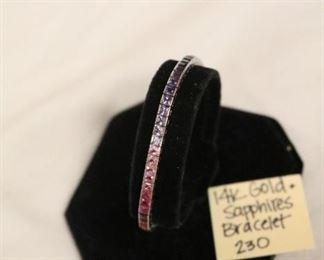 14k rainbow sapphires, single row bracelet