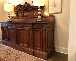 "Louis Philippe walnut buffet, 19th century, hand carved, marble top, four shallow drawers over four doors, 96"" wide by 72"" high by 25"" deep, originally purchased from ""The Antique Collection"" in Baton Rouge"