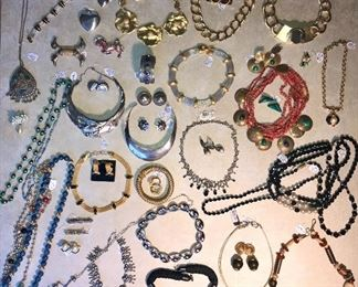 A sneak-peak at just a smidgen of all the Costume  Jewelry for sale. Lots of fine Sterling and designer pieces. ALL priced to sell. Most from the 1970s-1990s.