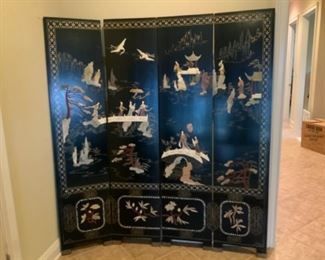 Four Panel Oriental Screen (needs pins for Hinges)