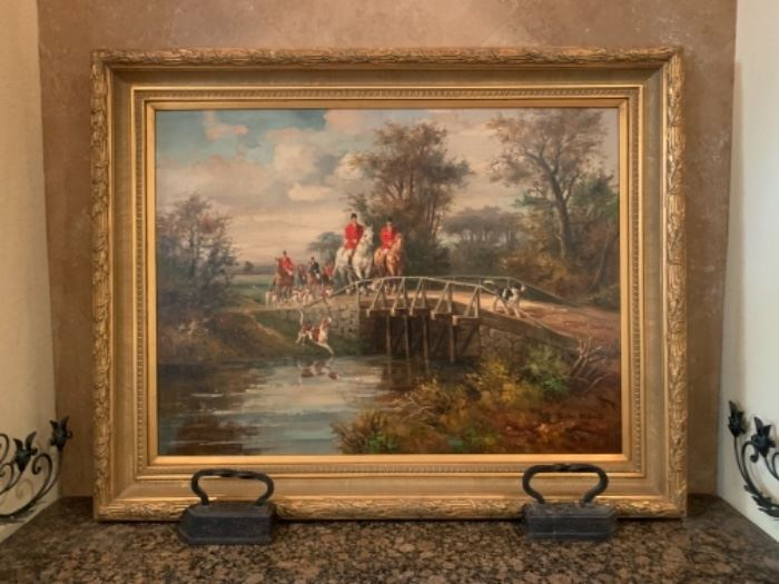 "Contemporary Depiction of Fox Hunt. Signed John Millais. 47"" x 59"""