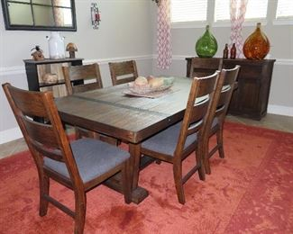 Farmhouse Style Dining Table & 6 Chairs - Sideboard & Bookcase to Match by Ashley Furniture