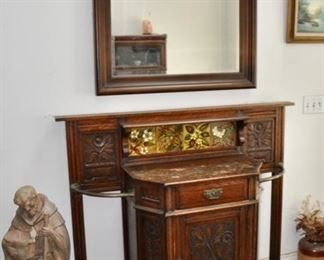 "$600 Carved Oak Hall Tree Cabinet w/Drawer & Door 53""W x 45 1/8""H x 18 1/2"" D"