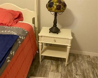 white four poster full size bed , night stands, and end table
