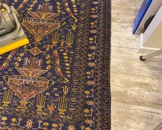 Semi antique Persian rug in beautiful tones of navy and green 3 x 5