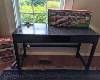 black desk wooden