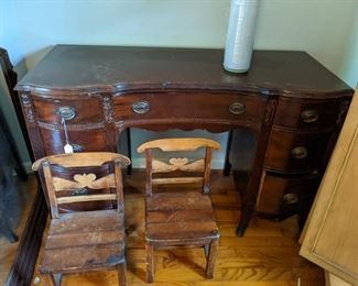 Two childrens chairs. Nice mahogany desk