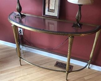 Glass semi circular table