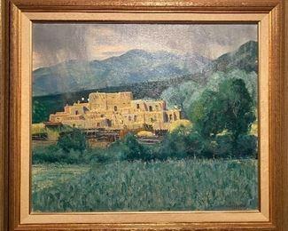 "Richard Vernon Goetz oil painting ""Taos Pueblo"""