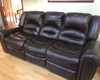 002 Brown Leather Recliner Sofa