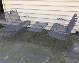 005 Wrought Iron Seating Set 2 Loveseats, 1 Table