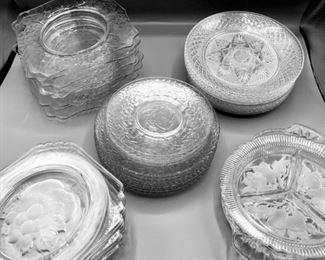 Abundance of Glass Luncheon Plates