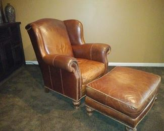 Nice, quality leather chair & ottoman