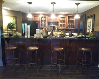 4 leather top bar stools
