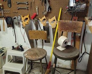 Tools & old shop stools
