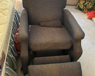 #5blue recliner with open bottom and extended top  $65.00