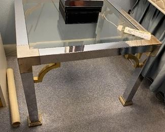 #7(2) chrome and brass glass top end tables 24x15 $35 ea. $70.00