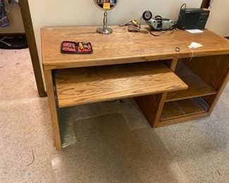 #13oak desk with open side and pull out key board drawer 60x24x30 $75.00