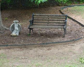 bench and bird bath