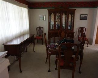 formal dining table, china cabinet, buffet