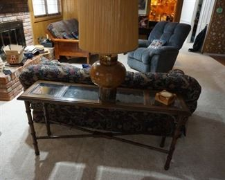 sofa table, lamp, recliner, couch