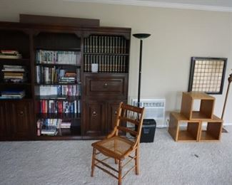 wall bookcase unit, chair, cubicle table