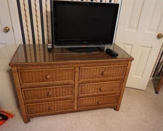 wicker dresser, TV