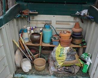 flower pots, sprayer,