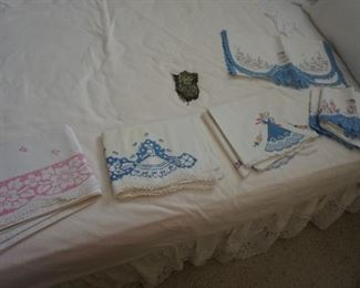 embroidered pillow cases and dresser scarf